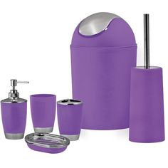 SQ Professional Purple Bathroom Accessory Set 6pc (€31) ❤ liked on Polyvore featuring home, bed & bath, bath, bath accessories, filler, plastic bathroom accessories, plastic wastebasket, plastic waste baskets, purple bathroom accessories and purple soap dispenser