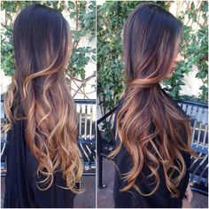 Long, black to brown ombre locks.