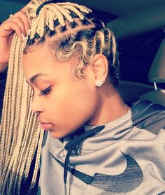 Blonde box braids and finger waves