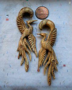 """White Crane Ear Plug 9/16"""". $70.00, via Etsy. These are gorgeous! :)  #LOVEisintheair #DesireTrueLove #DiamondCandles"""