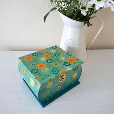 Teal Storage Box, Floral Handpainted Trinket Box, Dandelion Decorative Box £26.50