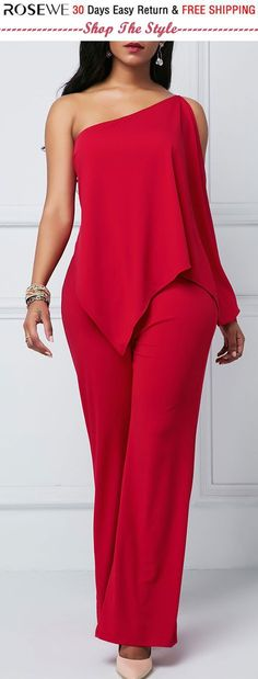 Overlay Embellished One Shoulder Zipper Back Jumpsuit. Overlay Embellished One Shoulder Zipper Back Jumpsuit. Sexy Outfits, Dress Outfits, Casual Outfits, Fashion Dresses, Cute Outfits, Embellished Jumpsuit, One Shoulder Jumpsuit, Frack, Overall