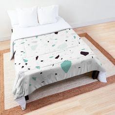 'Terrazzo Stone Pattern (Mint Green)' Comforter by NeptuneDesigns Green Comforter, College Dorm Rooms, Square Quilt, Terrazzo, Floor Pillows, Mint Green, Comforters, Duvet Covers, Toddler Bed