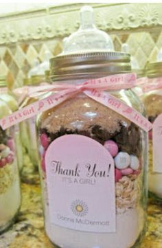 Cookie mix in a jar for baby shower from http://www.seriouslydaisies.com/2012/07/pink-gray-baby-shower-favors-entrance.html?m=1