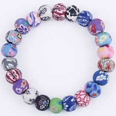 $4.99    Handcraft Polymer Clay Beading Bracelet 10mm Mixed by EOZYBEADS https://www.etsy.com/listing/209825775/handcraft-polymer-clay-beading-bracelet?ref=shop_home_active_23