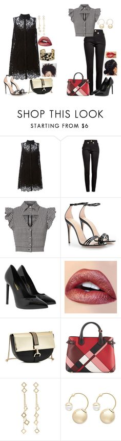 """""""St. Clairs: High Collar"""" by dottieonthemoon ❤ liked on Polyvore featuring Dolce&Gabbana, Balmain, Marissa Webb, Gucci, Yves Saint Laurent, Lanvin, Burberry, Arme De L'Amour and Witchery"""