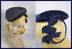 Vintage Hat 40s Navy Blue Wool Tilt or Tipster by alleycatsvintage, $82.00