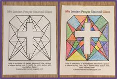 Free Lenten Prayer Printable Stained Glass Activity...could also be used as a countdown to Easter from Ash Weds along with daily devotions.