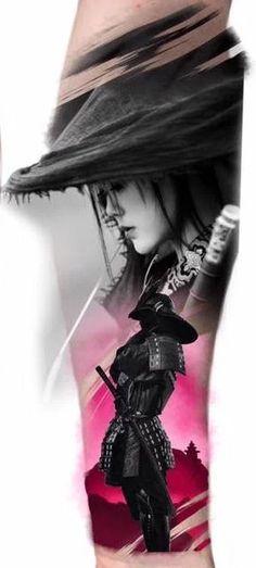 54 Stunningly Samurai Tattoos And Ideas That Are Worth The Pain Asian Tattoos, Trendy Tattoos, Leg Tattoos, Body Art Tattoos, Sleeve Tattoos, Geisha Tattoos, Geisha Tattoo Design, Geisha Samurai, Female Samurai