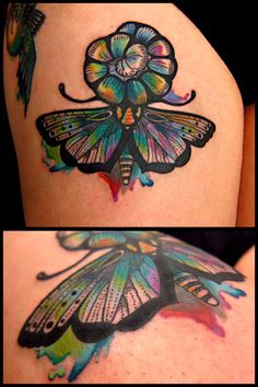stylized colorful somehow but old school and modern butterfly tattoo
