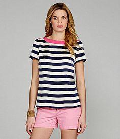 Cremieux Celine Stripe Blouse (Navy Stripe Pink Accent)