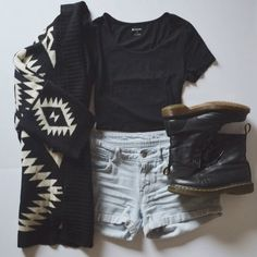 Summer to fall look with the black cropped tee, light blue shorts, aztec print cardigan, and black Doc Martens.
