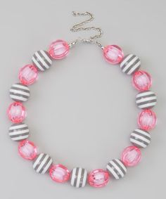 This Sweet Cheeks Pink & Gray Stripe Bead Necklace by Sweet Cheeks is perfect! #zulilyfinds