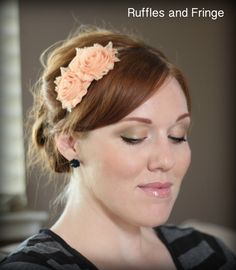 Peach Flower Headband     $11.50  Cute Idea!