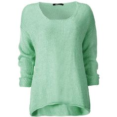 Mona knitted sweater 19.95 EUR ($23) ❤ liked on Polyvore featuring tops, sweaters, shirts, blusas, shirt sweater, green top, green sweater and green shirt