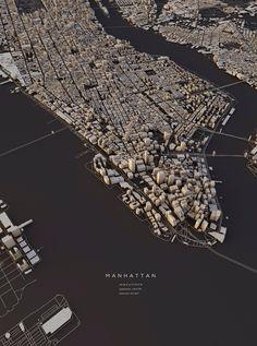 A 3D map of Manhattan by Luis Dilger German designer Dilger took OpenStreetMap's data of various cities and visualised the satellite-based information using DEM Earth in Cinema 4D, transforming them into 3D prints.
