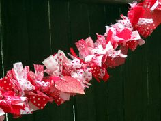 Easy Valentines Rag Garland Tutorial is part of Valentine Fabric Crafts - 3 Three and Under posted a tutorial for this fun valentines project Great way to use up those fabric scraps and no sewing required! Valentine Wreath, Valentine Day Crafts, Holiday Crafts, Holiday Fun, Valentine Ideas, Holiday Ideas, Holiday Decor, Rag Garland, Fabric Garland