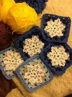 Crochet snowflake square crochet mood blanket 2014