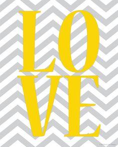LOVE Print with Chevron Pattern Background Digital Print.