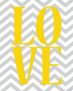 LOVE Print with Chevron Pattern Background Digital Print.