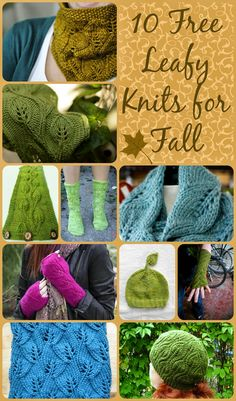 10 Free Leafy Knits for Fall. Free knit patterns, hats, cowls, scarves, gloves and socks.