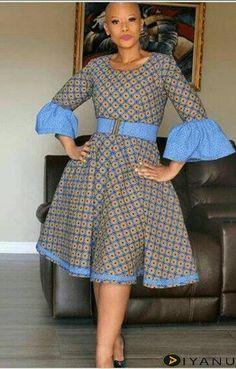 at Diyanu African Fashion Ankara, African Inspired Fashion, Latest African Fashion Dresses, African Dresses For Women, African Print Fashion, African Attire, Traditional African Clothing, Shweshwe Dresses, Puff Sleeves
