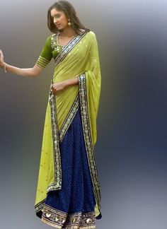 Blue & Olive Green Knitted Sparkle Designer Saree - shopneez.com  Price: £ 52.52 | $ 78.78 USD | 23.634 KWD | $ 105.04 AUD | $ 105.04 CAD | € 68.276 | 2783.56 MUR | 1260.48 ZAR | 288.86 AED  OFFER: Free Shipping in USA, UK, Singapore, Oman, Hong Kong, Bahrain, Sri Lanka & yes INDIA! and don't forget to check out other countries shipping rates are reduced by 50% as well.