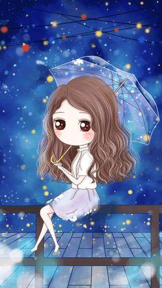 Cute Couple Cartoon, Cute Cartoon Girl, Cute Love Cartoons, Sad Anime Girl, Anime Art Girl, Anime Chibi, Kawaii Anime, Cute Girl Illustration, Cute Couple Wallpaper