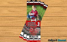 Razorbacks Football Ticket Birthday Party Invitations by Etsy Seller Designs and Decors