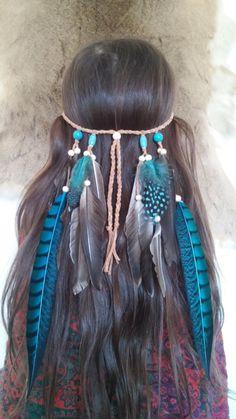 Turquoise, Princess, 2, Feather headband, native american, indian headband, hippie headband, bohemian headband, wedding veil, feather veil
