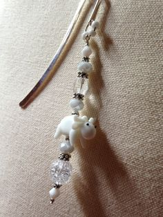 White Moose Focal Bead Book Mark with Czech Crackle Glass and Assorted Glass Beads by SnotitudeBullArtBead on Etsy
