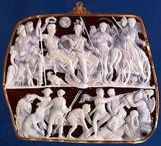 Gemma Augustea Century AD low-relief cameo cut from a double-layered Arabian onyx stone. Ancient Jewelry, Antique Jewelry, Vintage Jewelry, Cameo Jewelry, Jewelry Art, Jewellery, Ancient Rome, Ancient History, Ancient Aliens