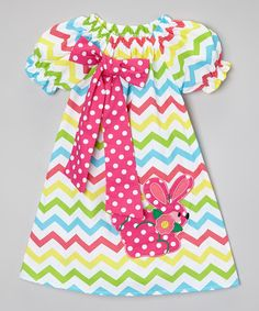 Look at this Rainbow Chevron Bunny Dress - Infant, Toddler & Girls on #zulily today!