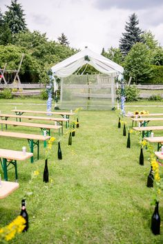 Bazooka Crafts: Our Thrifty & Crafty Wedding ~ Ceremony Decoration aka Who likes Symmetry anyways?