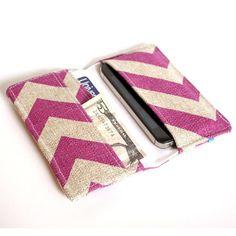 Cell Phone Wallet - Chevron Print - Purple and Grayish Tan Linen - Smart Phone Wallet. $22.00, via Etsy.