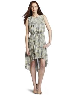 Kenneth Cole Women's Petite  Printed Ikat Pleated Dress $179.50