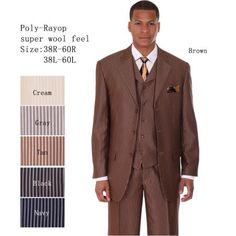 Mens 3 Piece 33'' Jacket with Double Vents Suit Bold Pencil Stripes Brown only @ $149.The pants are regular width with a single pleat. The fabric is a scintillating pencil-stripe, available in four variations. It's available in 36R-62R and 38L-62L. United Men's Fashion has found the hottest trends in men's fashion and offers them to you at amazing prices! #menssuit #menswear #AmazingPrice