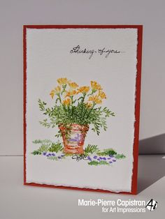Art Impressions Rubber Stamps: Watercolor card - Thinking of you Pot, Flowers and grasses from Water Color series.