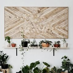 60in x 30in handmade wood wall art with reclaimed wood pattern. We can customize the size of this design in our shop if this one isnt just right for your space. Use it on a wall needing some love, or add it to a gallery wall. This piece will add rustic texture and minimalist style
