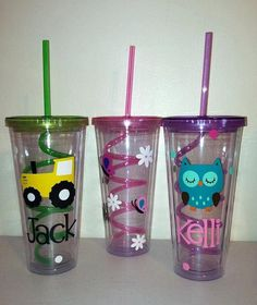 Promoting these for the fabulous Ellery who designed and is creating some awesome, custom tumblers for some gifts for me. These are my birthday gifty ideas for my nephews and nieces this year :))  You can pick a theme and personalize with a person's name for super cheap! And don't forget the crazy straw ;)