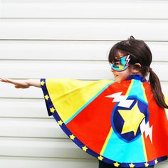 Super cool superhero cape set using vibrant colours and digitally printed. New to Wild Things.  Think Evel Knievel meets Wonder Woman !  These