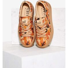 Puma x Rihanna Rebel Suede Creeper Sneaker ($140) ❤ liked on Polyvore featuring shoes, sneakers, orange, puma shoes, puma sneakers, puma trainers and puma footwear