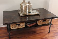 Steel and Pine Wood Coffee Table with Shelf make with gray finish?