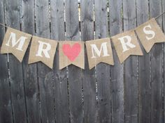 Ivory Coral Rustic Burlap Mr and Mrs Banner Bunting Photo Prop Sign Garland Country Chic Wedding Reception on Etsy, $18.00
