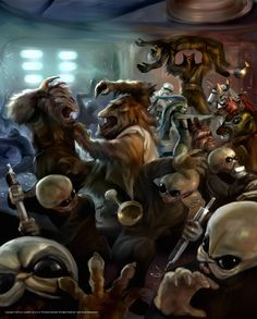 "A scene from the short story ""We Don't Do Weddings: The Band's Tale"" - Violence and chaos erupt at the wedding of Lady Valarian, and the members of the Modal Nodes band attempt to escape unscathed. (Painting by Chris Scalf)"