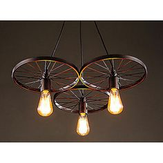 Vintage 3 Light Chandelier Pendant Lamp Ceiling Fixture Home Lighting with Bulbs