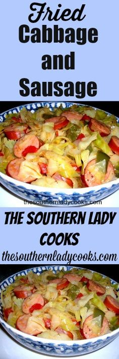 This is a quick and easy dish and makes a meal served with my recipe for Southern Cornmeal Hoecakes or Fried Cornbread 1 stick butter or small head of cabbage, small green peppe… Recipe For Southern Fried Cabbage, Fried Cabbage With Sausage, Cooked Cabbage, Southern Recipes, Cabbage Rolls, Southern Food, Cabbage Soup, Cabbage Patch, Southern Belle