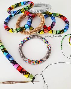 Merry Go Round / Bead Crochet Necklace Choker / Multicolor Colorful Striped Rainbow Seed Bead Jewelry / Handmade Gift for Woman Bead Crochet Patterns, Bead Crochet Rope, Beaded Jewelry Patterns, Beading Patterns, Seed Bead Jewelry, Bead Jewellery, Beading Projects, Beading Tutorials, Seed Bead Bracelets Tutorials