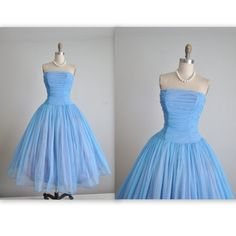 50's Prom Dress // Vintage 1950's Ruched Strapless Blue Chiffon Wedding Party Prom Dress Tea Gown XS by TheVintageStudio on Etsy https://www.etsy.com/listing/231135338/50s-prom-dress-vintage-1950s-ruched