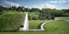 """Architect Robert Konieczny lifted the existing ground and wrapped it around the roof and exterior rooftop staircase, essentially making all floors """"ground"""" level in this modernist rural getaway in Książenice, Poland. Green Architecture, Landscape Architecture, Sustainable Architecture, Sustainable Houses, Modern Roof Design, Roofing Options, Residential Roofing, Underground Homes, Rooftop Deck"""